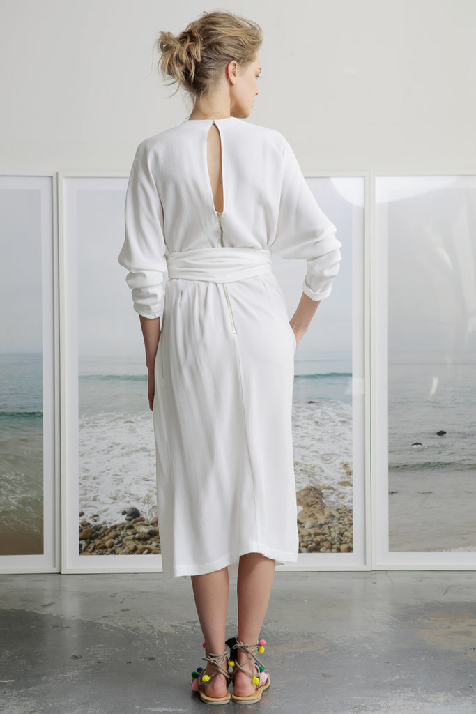 ASSISI DRESS - WHITE CREPE