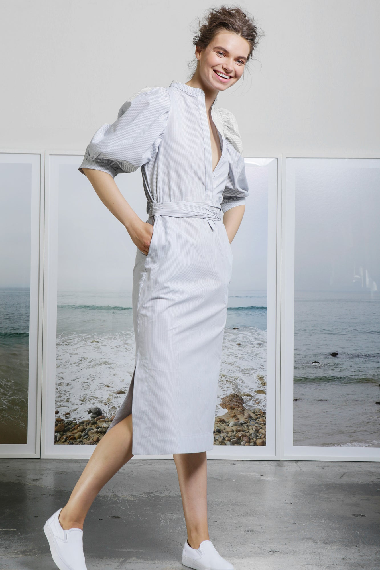 MASON DRESS - WHITE STRIPE