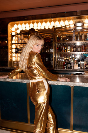 BLAZER JUMPSUIT - GOLD SEQUIN - MADE TO ORDER