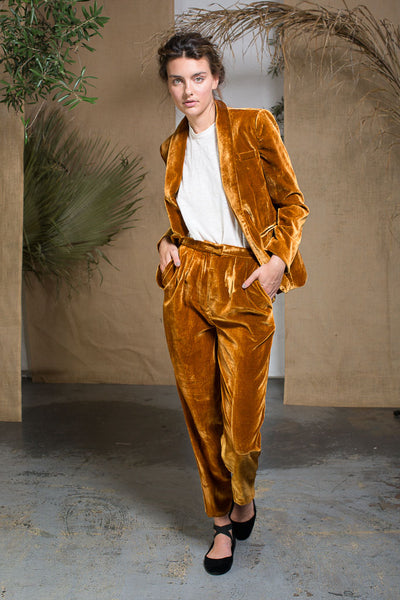 KAOLIN TROUSER - GOLD VELVET