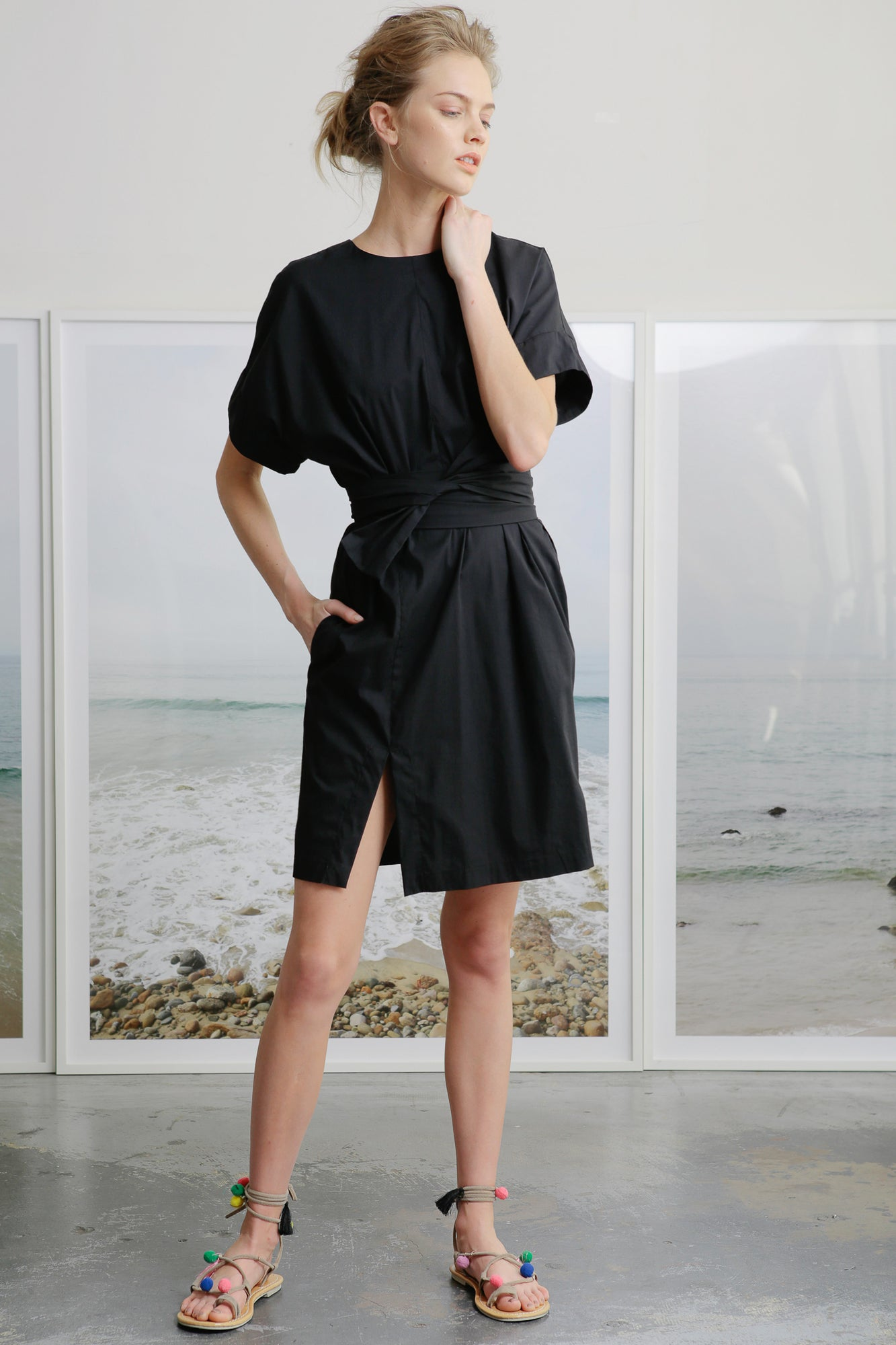 black t-shirt dress short with wrap