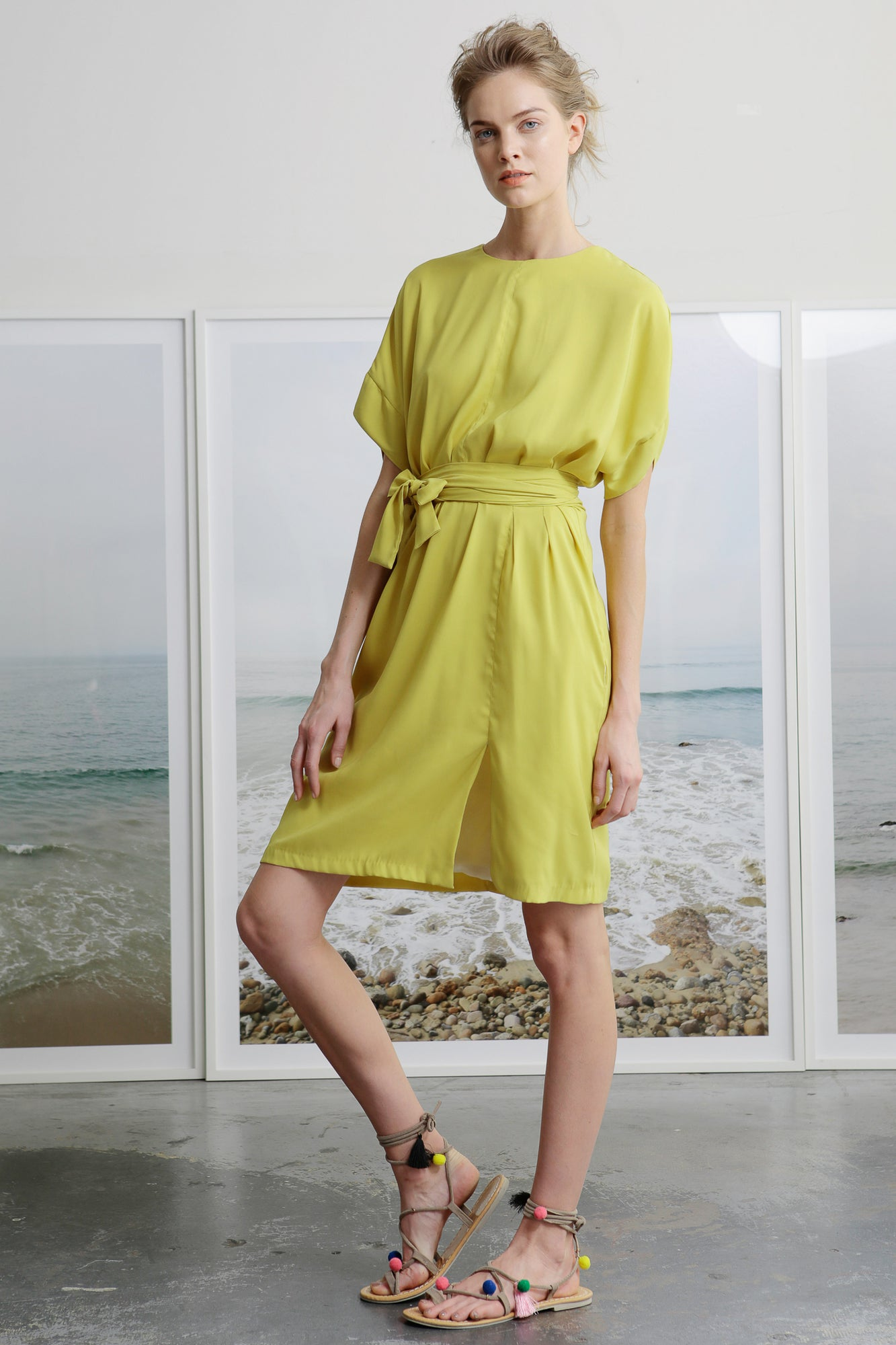 citrine summer dress with wrap