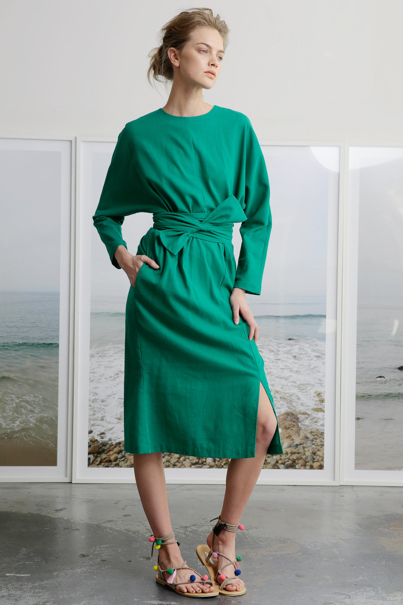 Green Linen Dress with Wrap