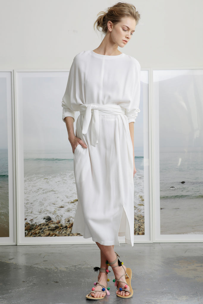White Crepe Dress with Wrap