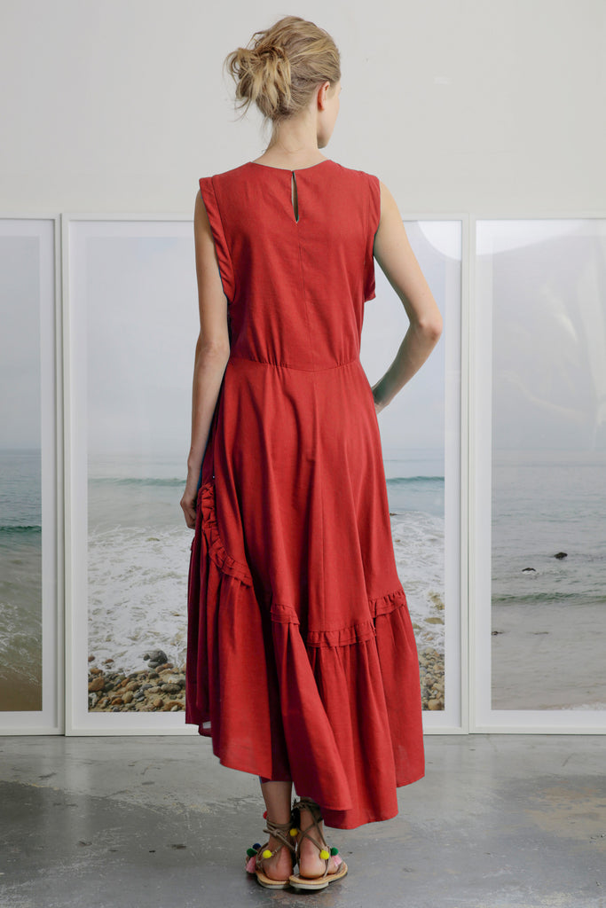 SAN SIMEON DRESS - RED - PRE ORDER