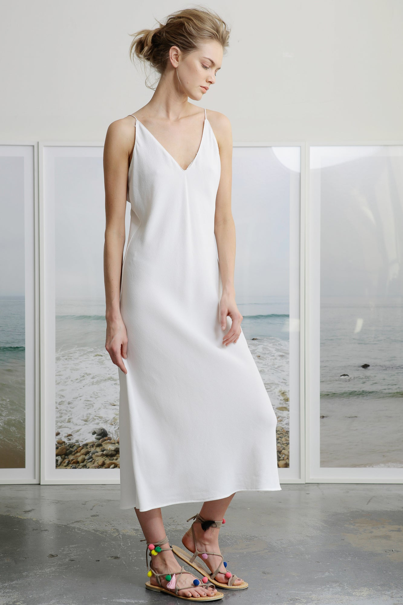 KURT SLIP DRESS - WHITE CREPE