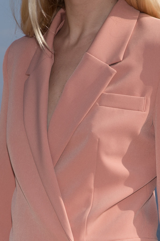 Model wears BLAZER DRESS - PETAL by Heidi Merrick (Close up)