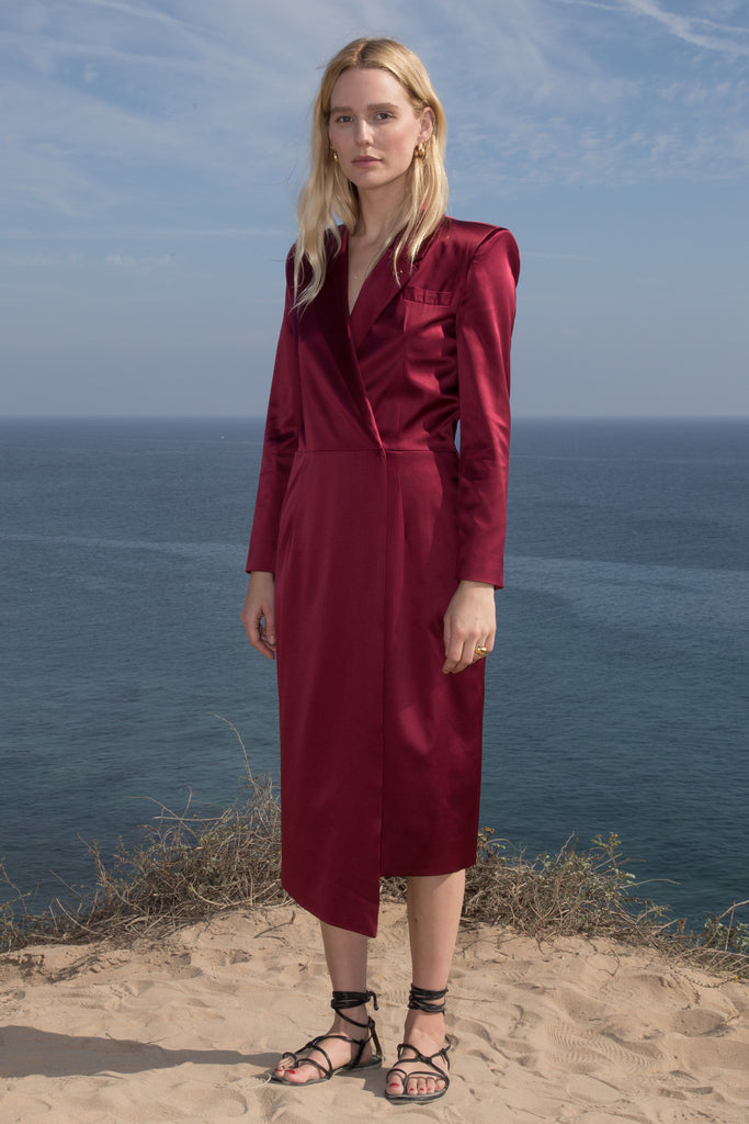 Model wears BLAZER DRESS - CRIMSON by Heidi Merrick (Front)