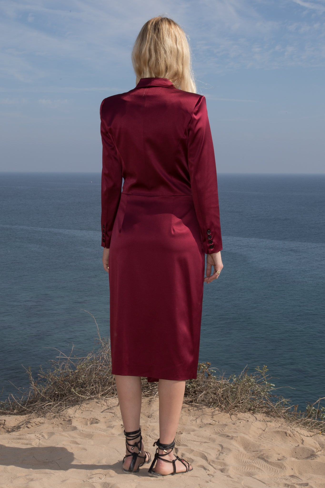 Model wears BLAZER DRESS - CRIMSON by Heidi Merrick (Back)