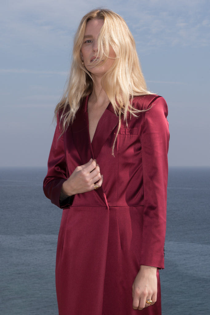 Model wears BLAZER DRESS - CRIMSON by Heidi Merrick (Close up)