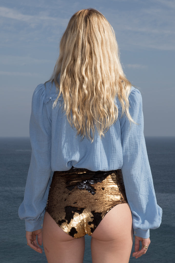 Model wears POET TOP - BLUE by Heidi Merrick (Back)