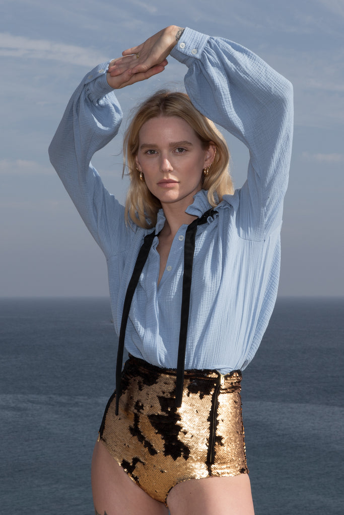 Model wears POET TOP - BLUE by Heidi Merrick (Front)