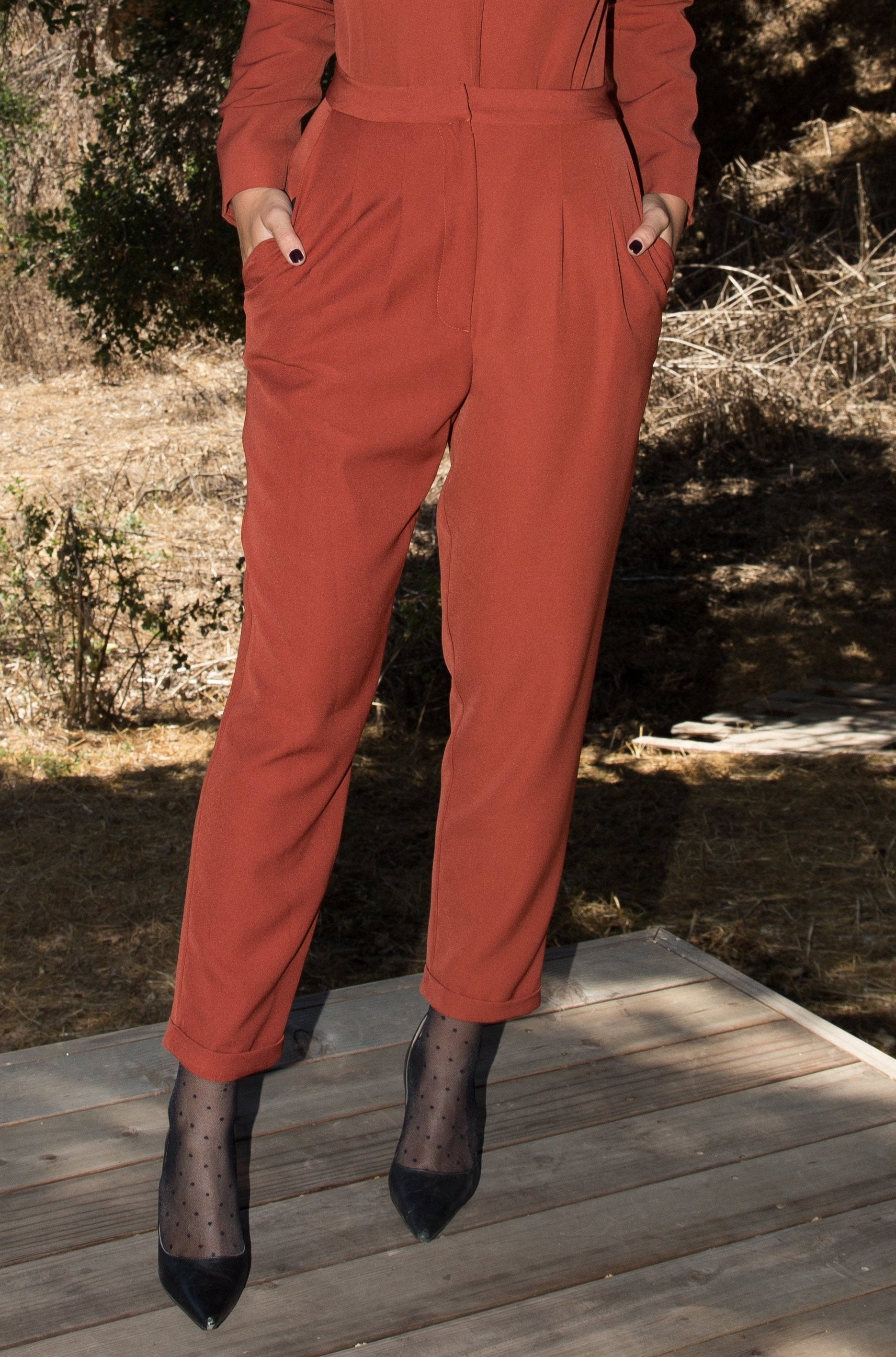 Model wears BETTE TROUSER - RUST by Heidi Merrick Made in Downtown Los Angeles (Overview)