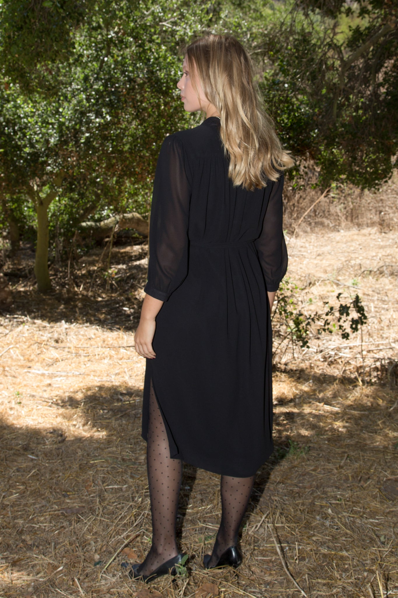 Model wears size Small CHIFFON MARISH DRESS - BLACK by Heidi Merrick made in Downtown Los Angeles