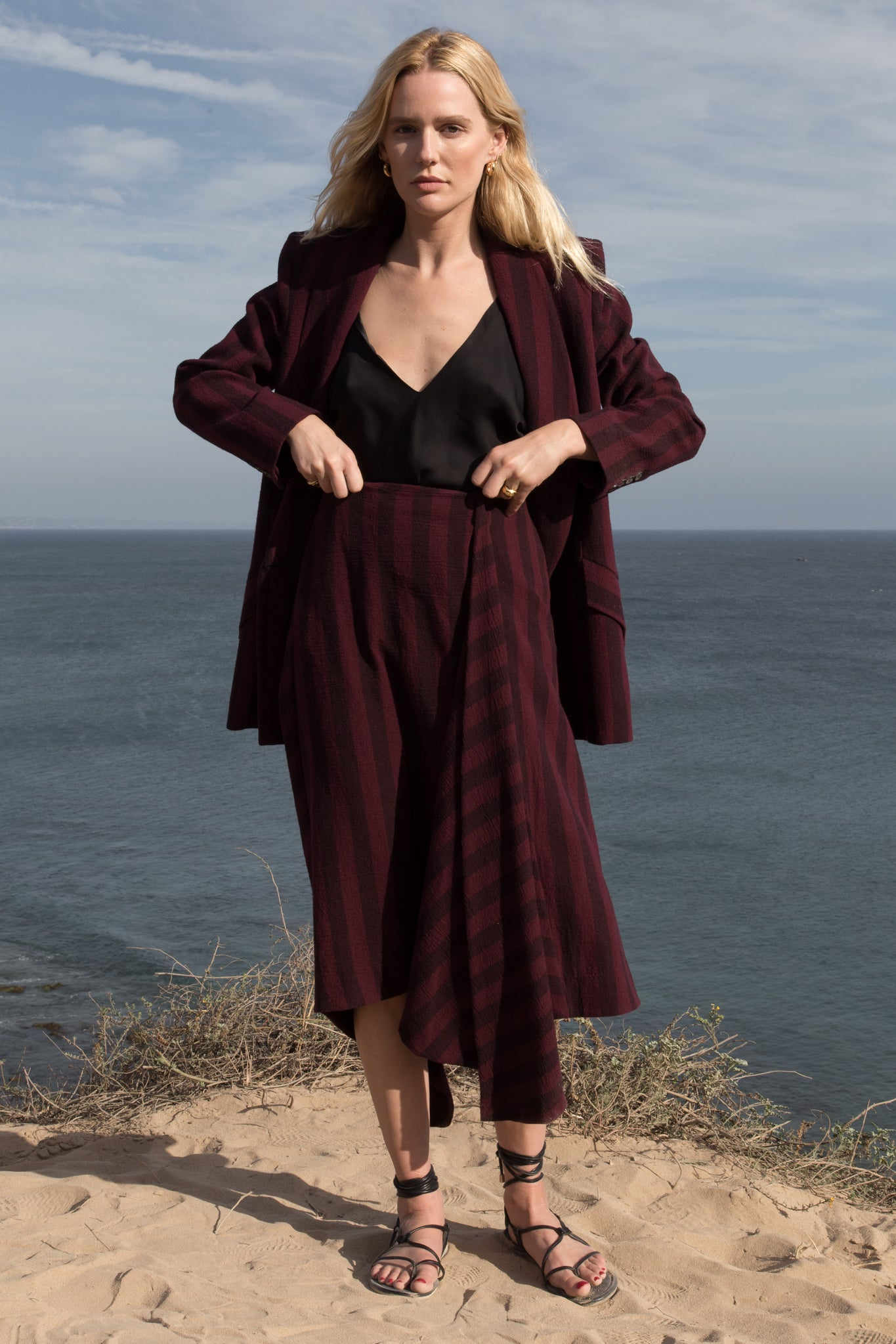 Model wears Size S JOSEPHINE SKIRT - BURGUNDY by Heidi Merrick made in Downtown Los Angeles