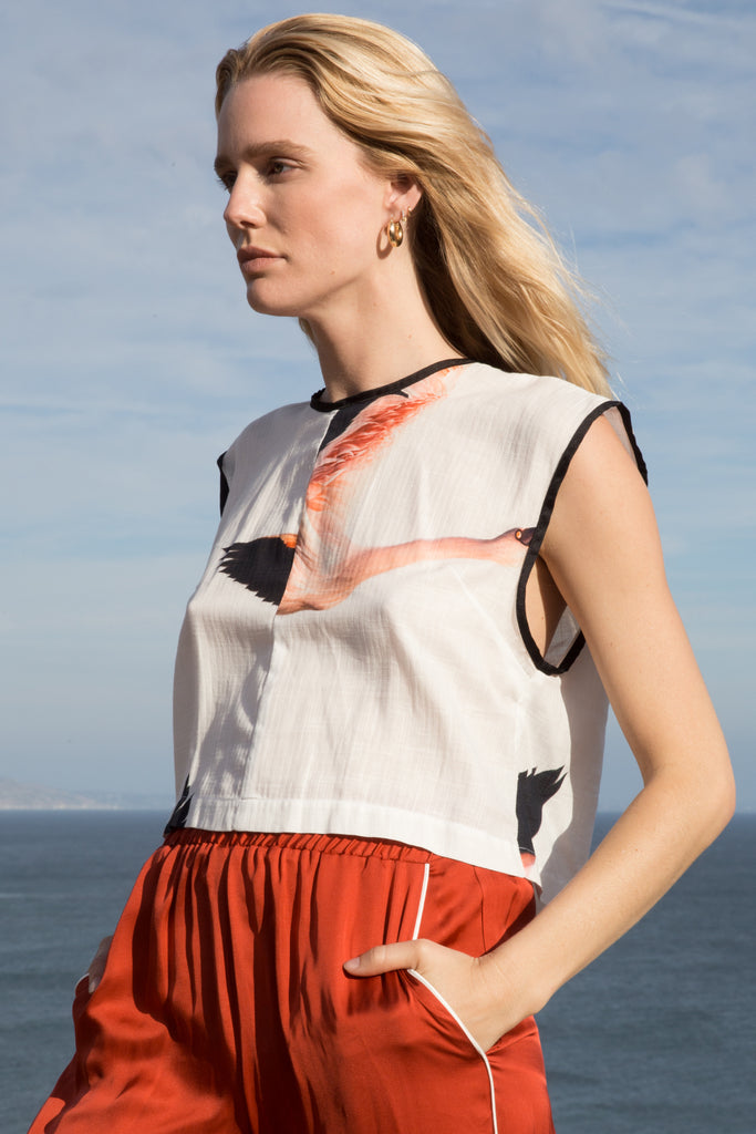 Model wears size Medium ELLA TOP - Color FLAMINGO by Heidi Merrick made in Downtown Los Angeles