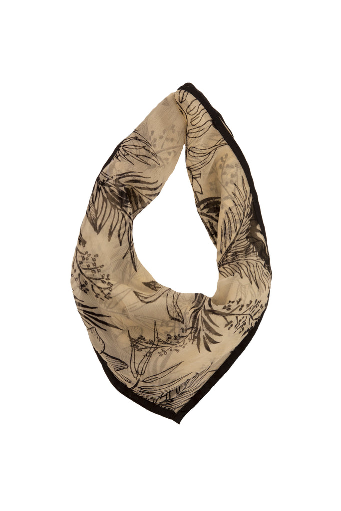 BIRD PRINT SCARF - BLACK