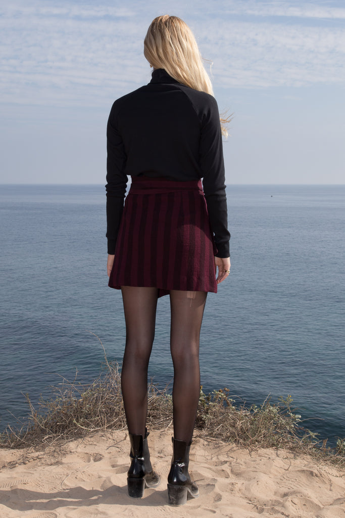 VIGNETO SKIRT - BURGUNDY STRIPE