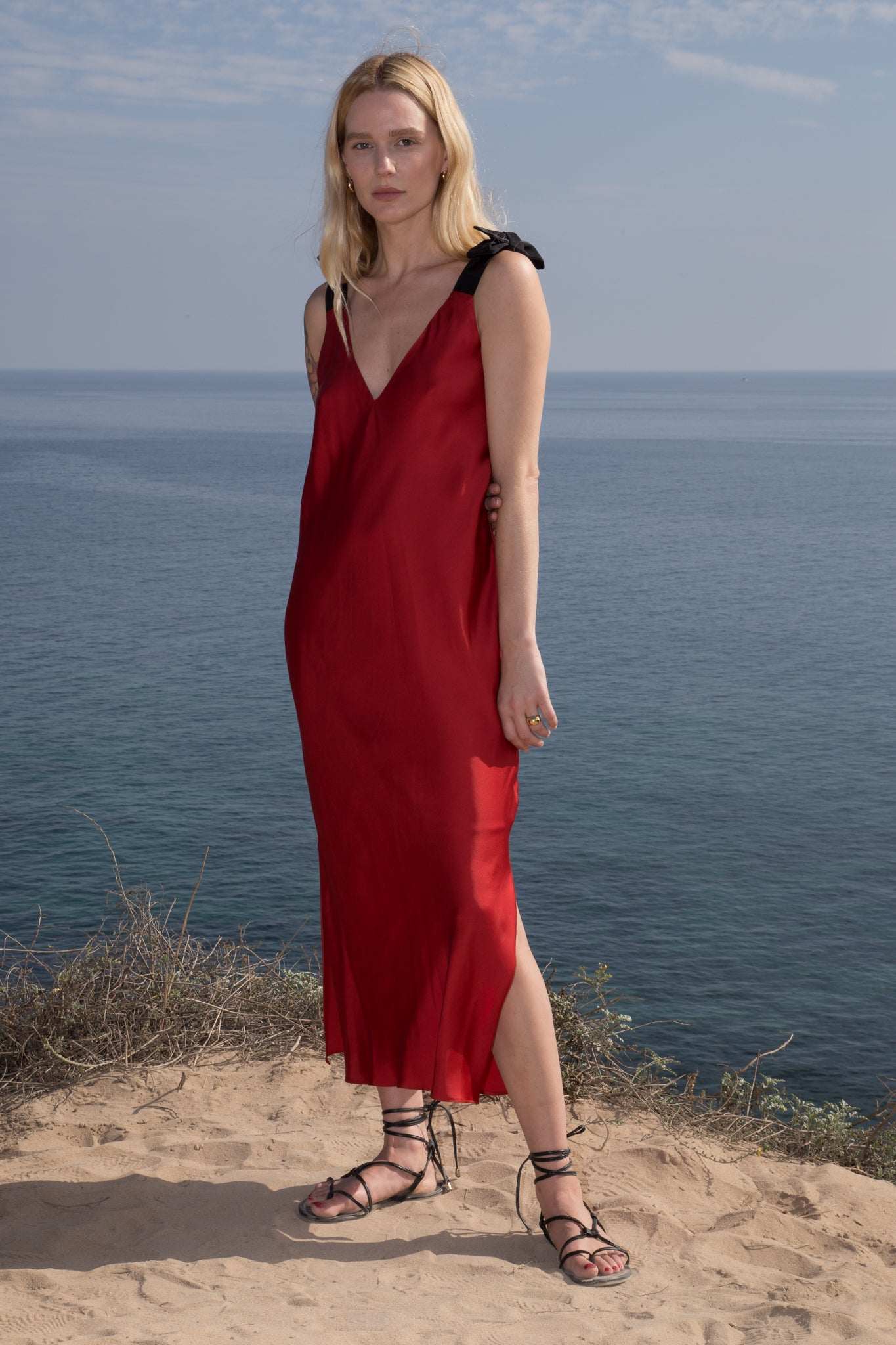 Model wears MARION SLIP DRESS - RED by Heidi Merrick (Front)