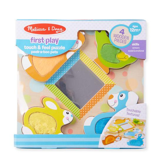 First Play - Wooden Touch and Feel Puzzle Peek-a-Boo Pets With Mirror