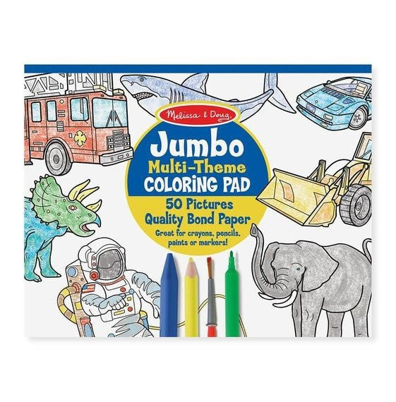 Jumbo Coloring Pad - Space, Sharks, Sports, and More