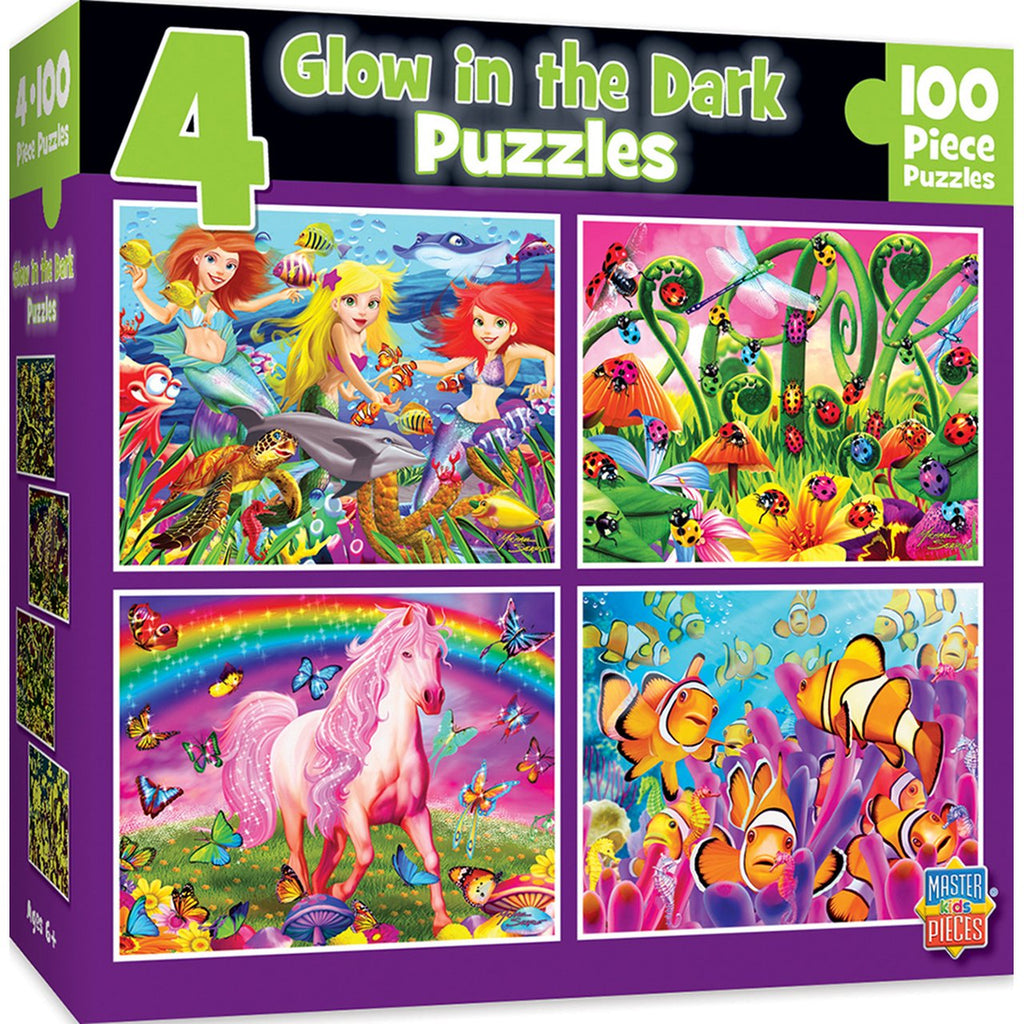 Puzzle - 100 pieces - (4) 100 pc puzzles, glow in the dark