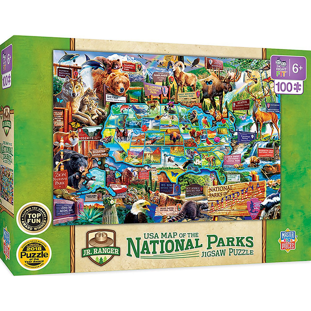 Puzzle - 100 piece - JR. RANGER - USA map of the National Parks