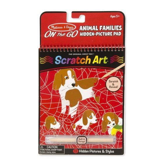 On the Go Scratch Art: Hidden-Picture Pad - Animal Families