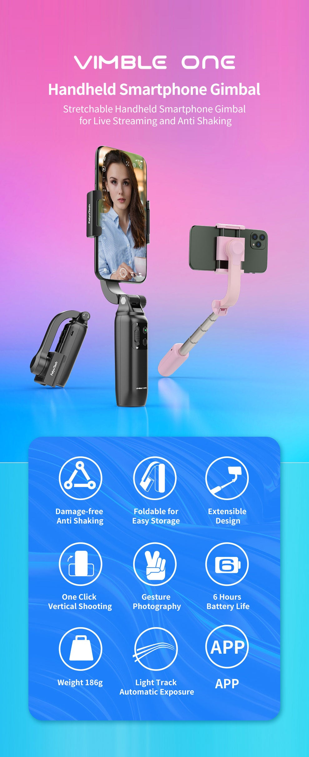 FeiyuTech Vimble One Single Axis Extendable & Foldable Smartphone Gimbal Stabilizer Overview
