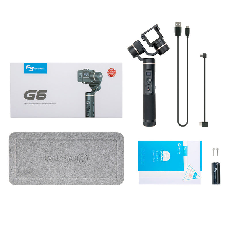FeiyuTech G6 Brushless Handheld Stabilizing Gimbal for GoPro 8/7/6/5/ RX0(Required RX0 Mount)/Yi 4K/SJCAM/AEE/ Ricca Sport Action Camera