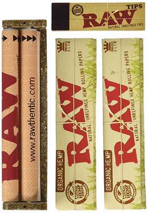 King Size Slim Organic Rolling Papers, 110mm Rolling Machine and Wide Filter Tips INCLUDES Black Velvet Pouch