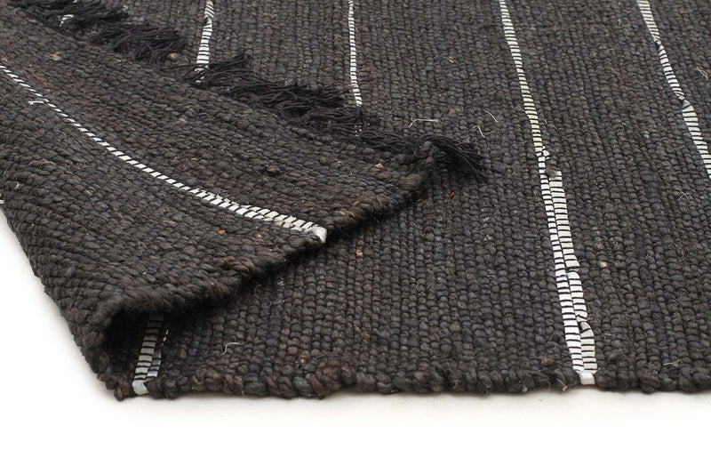 Atrium-Saville Jute and Leather Rug Black-RUG HOME