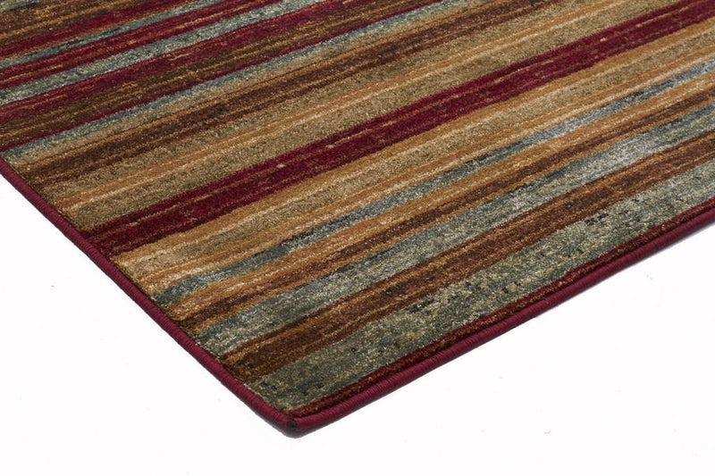 Byblos Modern-Rustic Stripe Stripped Rug Red-RUG HOME
