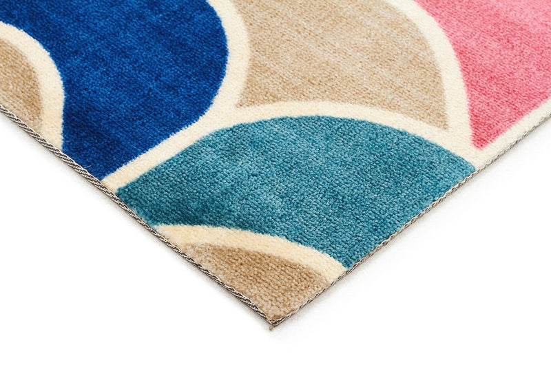 City-Fish Scale Design Rug Raspberry Blue-RUG HOME