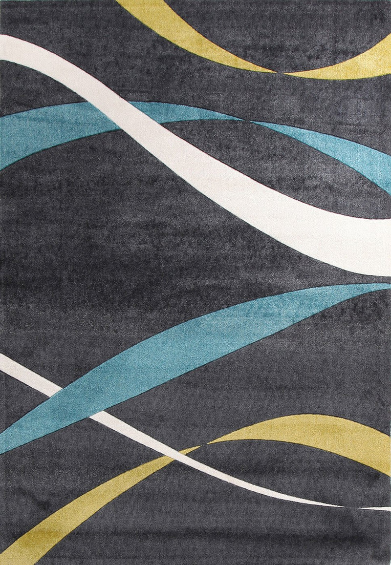 City-Ribbon Pattern Rug Charcoal-RUG HOME