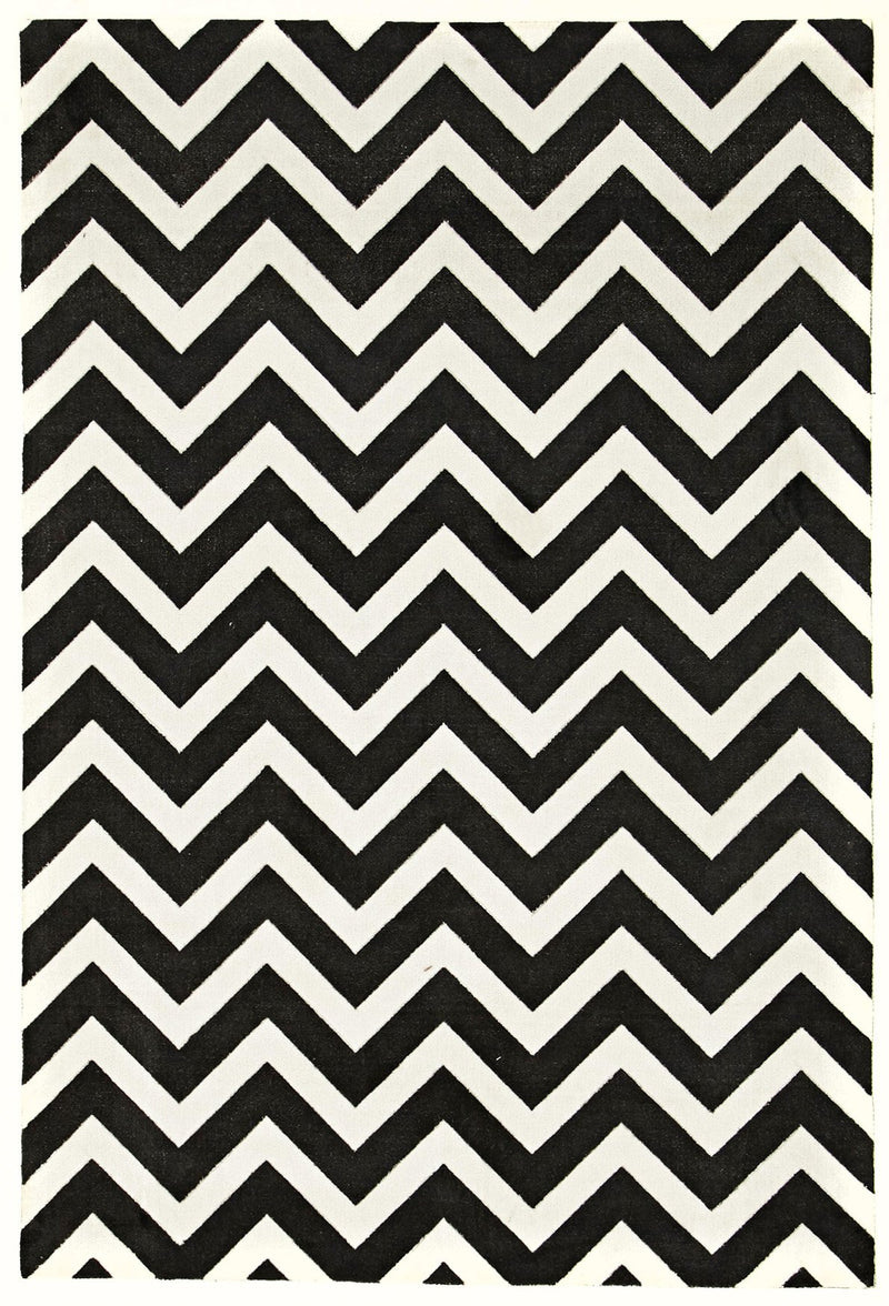 City-Stunning Chevron Design Rug Black White-RUG HOME