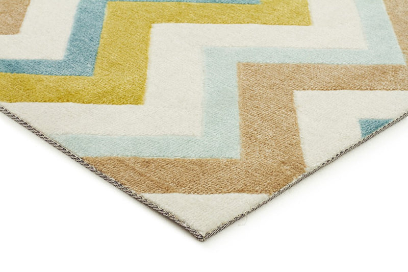 City-Stunning Chevron Design Rug Green Brown Cream-RUG HOME