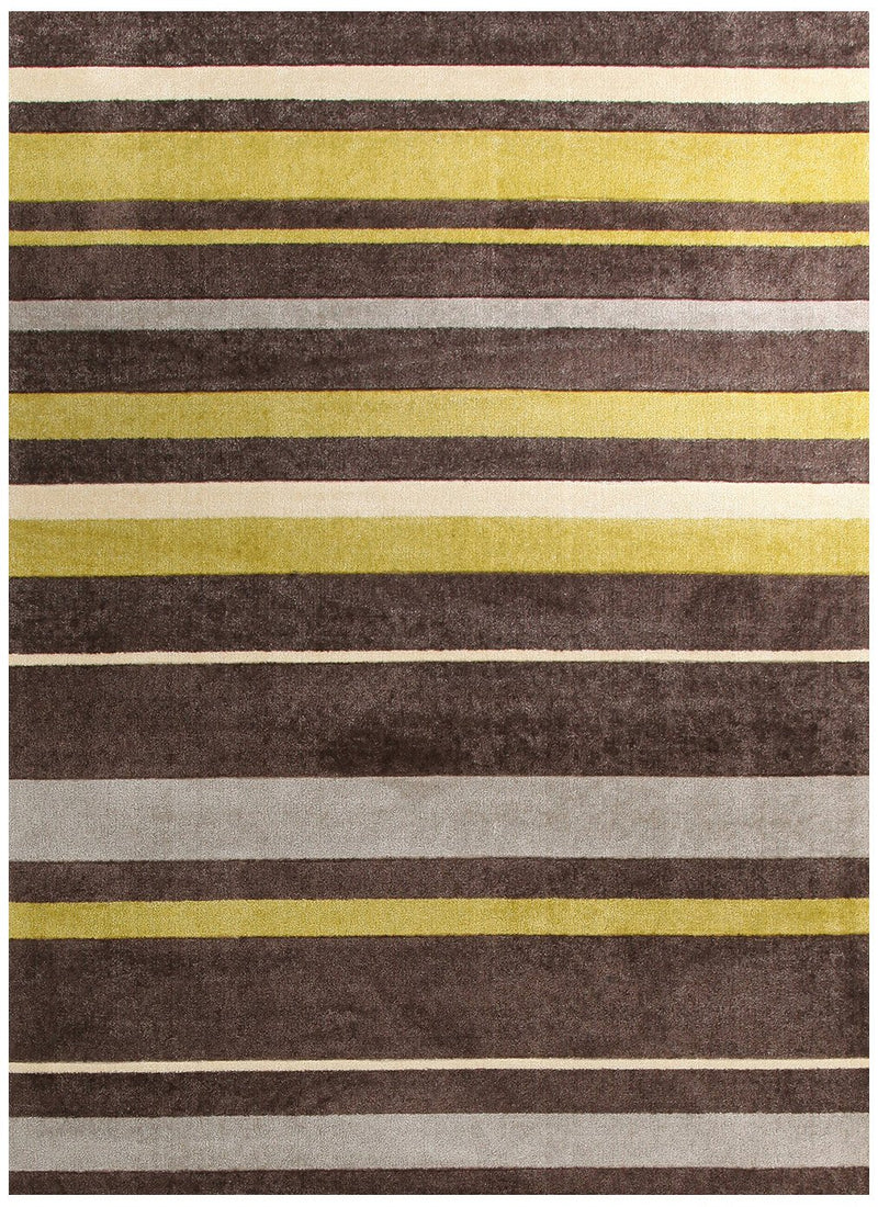 City-Stylish Stripe Rug Brown Green-RUG HOME