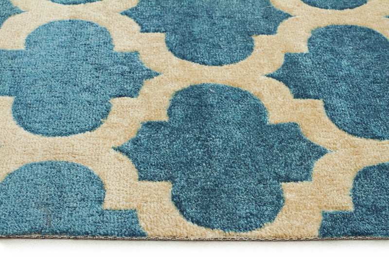 City-Trellis Stylish Design Rug Blue-RUG HOME