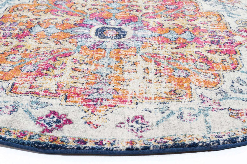 Evo-Carnival White Transitional Round Rug-RUG HOME