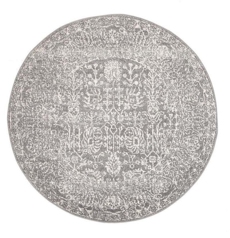 Evo-Homage Grey Transitional Round Rug-RUG HOME