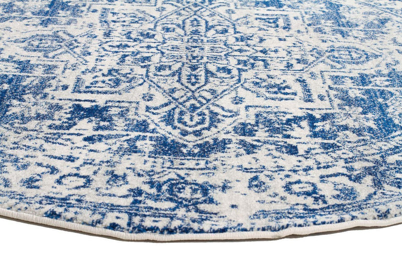 Evo-Horizon White Navy Transitional Round Rug-RUG HOME