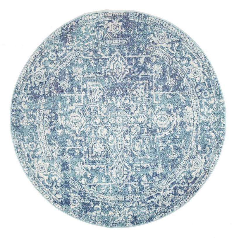 Evo-Muse Blue Transitional Round Rug-RUG HOME
