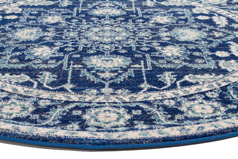 Evo-Release Navy Transitional Round Rug-RUG HOME