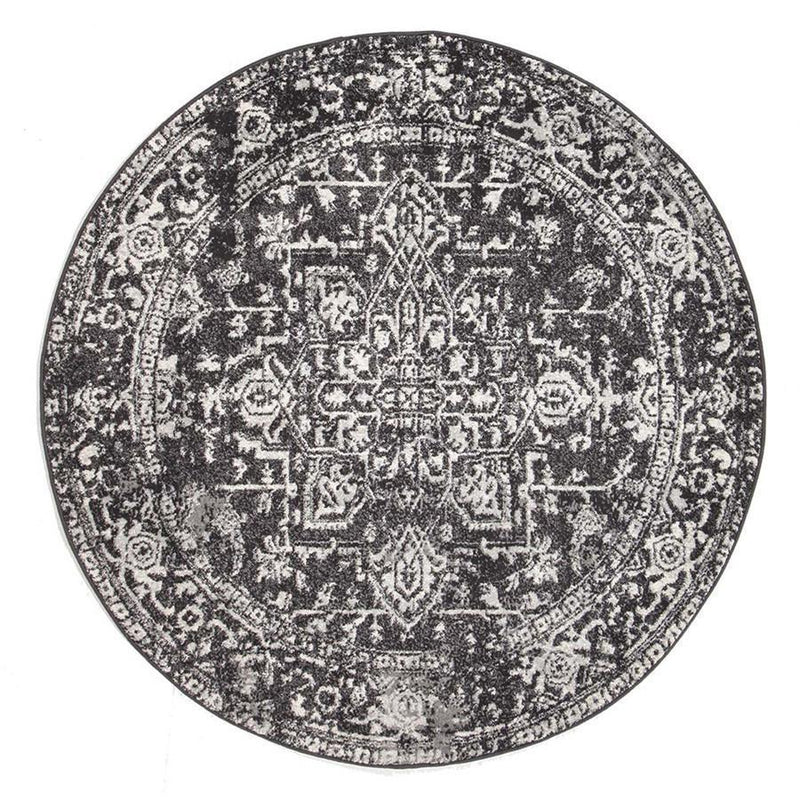 Evo-Scape Charcoal Transitional Round Rug-RUG HOME