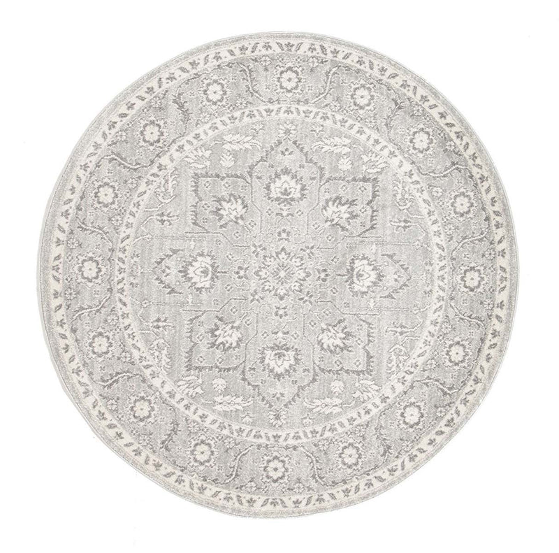 Evo-Silver Flower Transitional Round Rug-RUG HOME