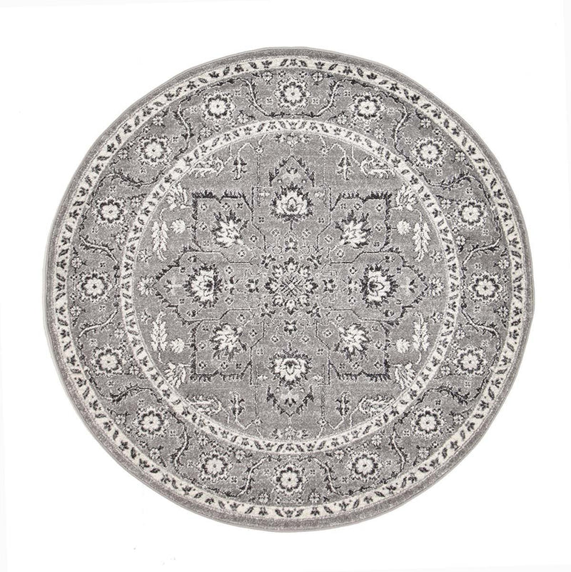 Evo-Stone Grey Transitional Round Rug-RUG HOME