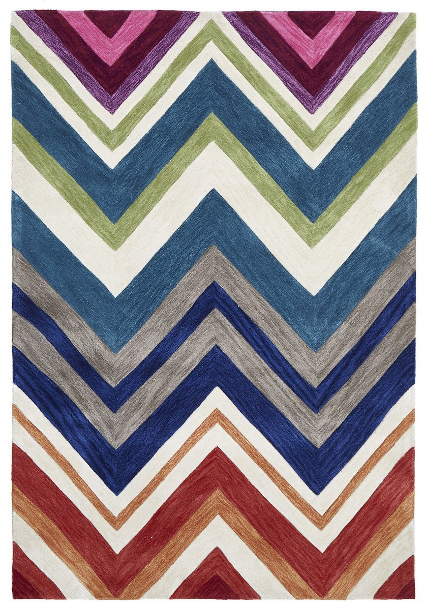 Gold-Abrash Chevron Rug Multi Coloured-RUG HOME