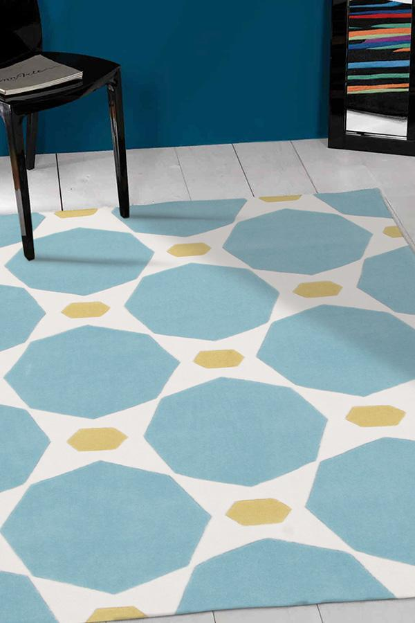 Gold-Blue and Yellow Hive Rug-RUG HOME