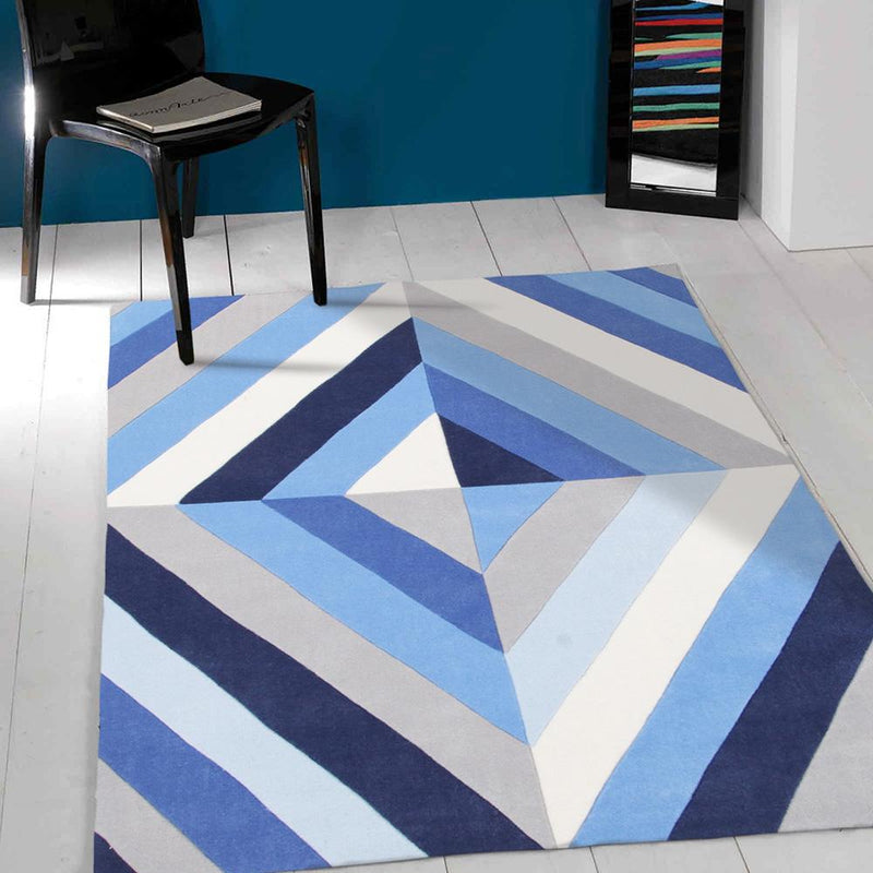 Gold-Blue Crystal Prism Rug-RUG HOME